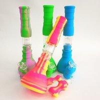 """14 """"Beaker de silicona Bong, Quemador de aceite Tubo 3 Filtración Filtro de vidrio Tazón Bong de vidrio, Tuberías de agua Cachimbas para fumar, Equipo de limpieza"""