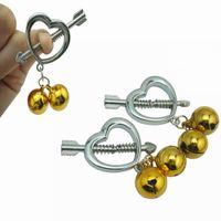 New Female Edelstahl Folter Play-Clamp-Bell-Ring aus Metall Nippelklammern Breast BDSM Bondage Restraint Fetisch Vibrator Sex-Spielzeug