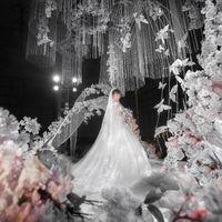 Nuove parete del fiore abito da sposa di layout in studio puntelli forniture di nozze di nozze bianco ciondolo farfalla decorazione del soffitto di sfondo