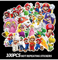 100 pz / set Gioco Anime Mario Graffiti Sticker Cartoon Valigia impermeabile DIY Laptop Guitar Skateboard Toy Bella Wall Car adesivi