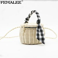 FEMALEE Handmade Woven Beach Bags Cylinder Hand Carrying Str...