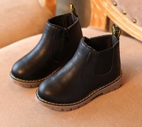 Yeni Moda çocuklar Bebek Kız Erkek Kar Boots For Sonbahar Kış Çocuk Martin Boots Ayak bileği Zip Deri Casual Toddle Ayakkabı