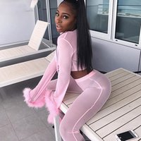 Sexy Pink malha Treino Mulheres Sweat Suit 2 Piece Set Mulheres Sólidos Lace Up Top E Alargamento Pants Outfits partido