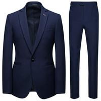 Costumes homme pour smokings de marié 2019 AOWOFS revers cintré Slim Fit Blazer Deux Pièces Veste Pantalon Gilet Homme Vêtements Sur Mesure M-6XL J1906177