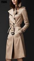 أزياء الخريف 2018 العلامة التجارية الجديدة المرأة خندق معطف طويل سترة واقية أوروبا أمريكا موضة مزدوجة الصدر سليم خندق طويل