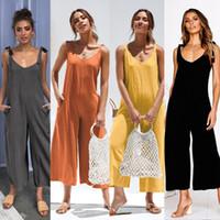 Femmes Summer Jumpsuit Loose Dungarees 2019 Sexy Col V-Col V ROMPER Dames Dames Sangle d'une pièce Playsuit