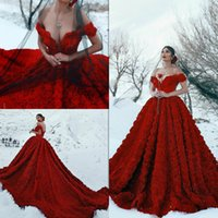 2020 Dark Red Wedding Dresses with 3D Flowers Off Shoulder B...