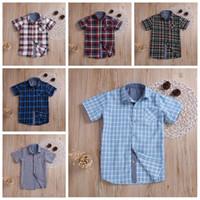 Sólido verano niños de la tela escocesa camisetas Ropa del bebé de manga corta de algodón de las tapas de rejilla suelta camisas ocasionales del niño Boutique caballero Traje C336