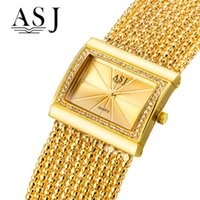 Quartz des montres ASJ femmes montres or strass Bracelet Watch Ladies Fashion Rectangle femmes étanche
