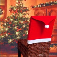 Christmas Decorations Santa Claus Clause Hat Chair Covers Di...