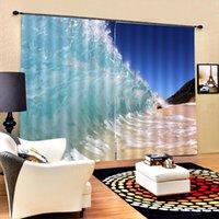 Foto nuova onde blu tende della finestra Blackout lusso spruzzare 3D Tende set per la base Soggiorno