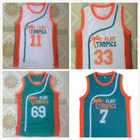 Cheap Mens Semi Pro Movie Flint Tropics # 7 Caffè Nero Jersey # 33 Jackie Moon # 69 Downtown # 11 ED Monix Basketball Maglie