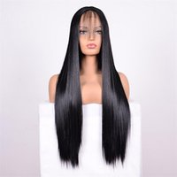 Black Long Straight Hair Front Lace Wig Synthetic Lace Front...