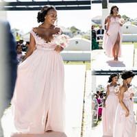 2019 billige rosa lange Brautjungfer ärmellose südafrikanische Spitze Applique Scoop Neck Side Split Chiffon Brautjungfern Kleid nach Maß