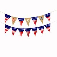 ABD Çuval bezi Bayraklar ABD Milli Günü Çekme Bayraklar Renklendirme Bağımsızlık Günü Flamalar Bunting Afişler Parti Dekorasyon Ücretsiz Kargo LQP-YW3134