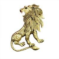 De gama alta de los hombres trajes broche nueva llegada al por mayor por encargo de oro plata león broche animal broche