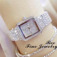 Montre carrée pour les femmes Robe Quartz Argent Bling cristal de diamant Mesdames Montres Casual Horloge étanche