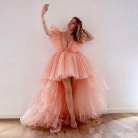 블러쉬 핑크 (High) 저 (Low) 댄스 파티 드레스 깊은 V 넥 계층 투투 스커트 반팔 칵테일 파티 드레스 용 여자 저렴한 저녁 가운 2020