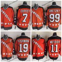 1984 All Star Laranja Campbell 19 Steve Yzerman 11 Marca Messier 99 Wayne Gretzky 7 Camisolas De Hóquei Paul Coffey Costurado Logotipo