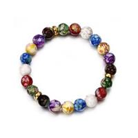 Contas coloridas Rainbow Healing Crystal Chakra Yoga Pulseiras de holograma para mulheres