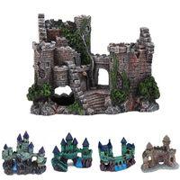 اصطناعية حوض قلعة الديكور برج القديمة حلية السمك للدبابات على الصخرة كهف للاسماك الروبيان يختبئ الزخرفية الرخام