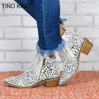 Moda Casual Shoes TINO KINO New Woman Leopard Botas Outono Mulheres Pu Leather Zip Salto Alto mulher fêmea da Plataforma