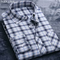 England Style Plaid Shirt Casual Oxford Cotton Male Navy Blu...