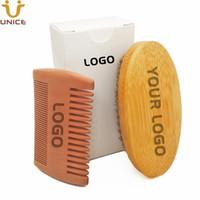 MOQ 100 PCS OEM Custom Custom Logo Kits de barbe Ensemble Bambo Beards Brush Fine Large Bois de pêche en Boite blanche avec nom d'impression