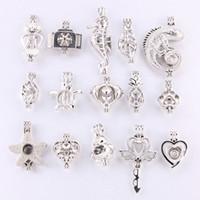 10 misto de prata cor do arco-íris preto maneira fazer jóias Pérola gaiola medalhão Pendant Essencial jóias Fun Oil-Difusor