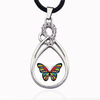 Autism Awareness Butterfly Circle Charm Collana Collana Gioielli Moda popolare perline Catena Crystal Grain Collana pendente