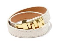 Leather Fashion-Vintage Multilayer Pu H bracciali per le donne braccialetti del polsino Uomini oro fibbia Wristband Pulseras Hombre Maschio Gioielleria