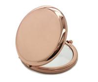 1 pcs Maquiagem Espelho De Bolso Compacto Dobrado Portátil Pequeno Rodada Mão Maquiagem Vaidade De Metal Cosméticos