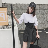 Simple Fake Two Piece Stripe Women Dress Elegant Office Lady...