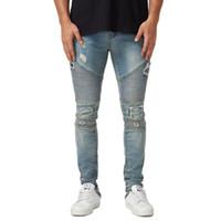 Mens Designer drapierte zerrissene Jeans-Slim Fit Biker Bleistift-Hosen-Frühlings-Herbst-Mode-Hose