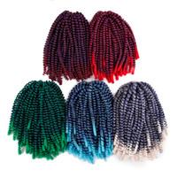 siyah kadınlar için Renkli Sentetik Ombre Burgonya bahar büküm tığ örgü saç uzatma toplu Freetress meche tığ örgü saç demetleri