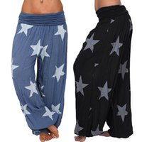 Plus Size Mulheres Pants Estrela Imprimir calças perna larga Boho Mulheres Verão estiramento de Bell inferior calças Ladies solto Yoga Pants 5XL