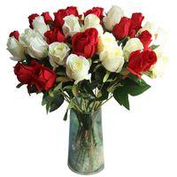 10pcs / lot mariage Rose Bud Real Touch Branche Fleur artificielle Fleurs décoratives Rose pour la fête de la Saint-Valentin Décoration