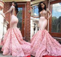 Superbe 2K17 Rose à manches longues roses robes de bal sexy Voir à travers les manches longues ouvertes Robes de soirée Sermaid Robes de soirée sud-africaine Dreuins