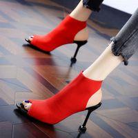 Moda Donna Thin Tacchi alti sandali sexy di lusso Scarpe Donna Heels da sposa rosso colore solido Estate Knitting bocca dei pesci ShoesMultifunction