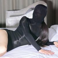 Unisex High Cut Kombinezon Full Body Pończochy 8D Ultra Cienki Przezroczysty Body Sexy Błyszczące błyszczące Nylon Zentai Bodystocking z maską Kaptur