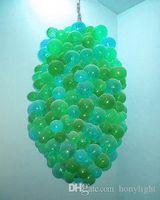 Современный зеленый стекло Bubble Люстра шар Форма муранского стекла Люстра Гостиной Декор Hand выдувное стекло Светодиодные лампы Подвесные лампы