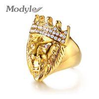 Modyle Gold Color Classic 316L Acero inoxidable Hombres Punk Hip Hop Anillo Cool Lion Head Band Anillo de oro Joyería