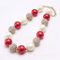 Più nuovi monili Design Natale Kid collana robusta Beads Red + Gold Ragazza di colore Bubblegum borda la collana Chunky per i bambini