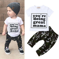 Pudcoco 2019 Summer Toddler Kids Baby Boy T-shirt Mangas cortas Letras Tops + Pantalones largos Leggings Trajes 2pcs Ropa Camo Set