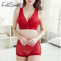 FallSweet Bra Full Coverage e Panty Set No Wire Vest Set Bra Plus Size Underwear alte donne della vita Slip
