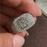 مجوهرات فاخرة فيكتوريا Wieck 925 فضة جولة قص الأبيض توباز تمهيد CZ الماس تكويم المرأة خاتم الزفاف الفرقة للرجال هدية