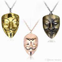 Hip Hop Schmuck V für Vendetta Maske Halskette Männer Schmuck neuen Charme-hängender Halskette Cuban Link Kette Metallschmuck Herrenhalsketten