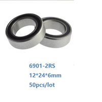 50pcs / lot الحرة الشحن 6901RS 6901-2RS 6901 RS واضعا الكرة 2RS 12 * 24 * 6MM الاخدود العميق اضعا الكرة 12x24x6mm