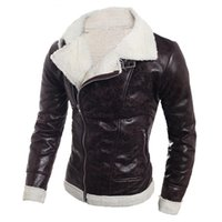 Men Leather Jacket Warm Sheepskin Coat Fur Liner Lapel Leath...