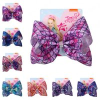 8 Clipes Inch Mermaid JOJO Siwa Grande Arcos bebê Hairbows meninas Crianças Hairpin Childrens Barrettes Boutique Acessórios para Cabelo